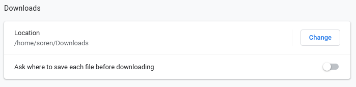 changing download location in Chrome